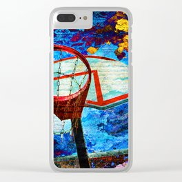 Colorful Modern Basketball Art Clear iPhone Case