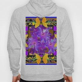 TROPICAL PURPLE FLOWERS & YELLOW BUTTERFLIES FRAMED ART Hoody