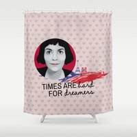 amelie Shower Curtains featuring Dreamer Amelie  by MissAtomicBomb