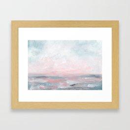 Stormy Seas - Gray & Pink Seascape Framed Art Print