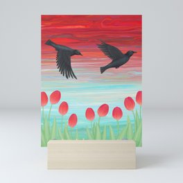 crows, tulips, & snails Mini Art Print