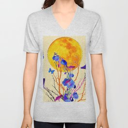 BLUE BUTTERFLIES MORNING GLORY  FULL MOON ART Unisex V-Neck
