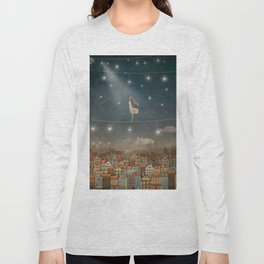 Illustration of  cute houses and  pretty girl   in night sky Long Sleeve T-shirt