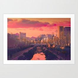 Seongbuk Sunsets Art Print
