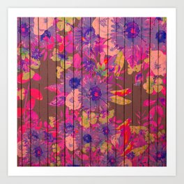 Brown wood magenta purple watercolor floral Art Print