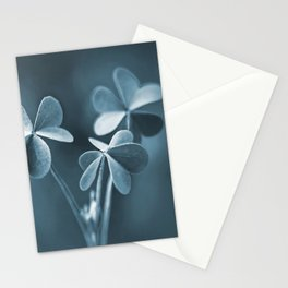 Elegant Blue Three Clovers Nature Macro Abstract Stationery Cards
