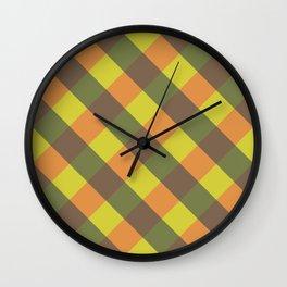 bright fall plaid Wall Clock