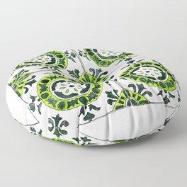 Green and White Circular Portuguese Tile Floor Pillow