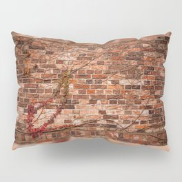 Red ivy hedge climber on wall Pillow Sham