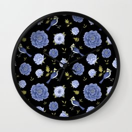 Blue birds and peonies on black backdrop Wall Clock