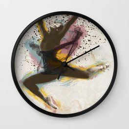 Ballerina dancing and expanding in color Wall Clock