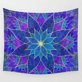 Lotus 2 - blue and purple Wall Tapestry