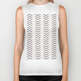 mudcloth pattern white black arrows Biker Tank