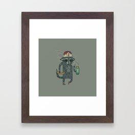 "Raccoon wearing human ""hat"" Framed Art Print"