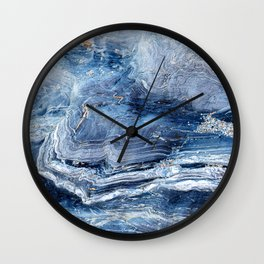 "Travel & nature photography ""details of a rock in blue colors. Abstract fine art photo print.  Wall Clock"