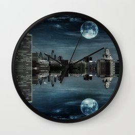 Night in the Reflection Wall Clock