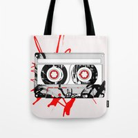 tape Tote Bags featuring tape by Sean McFadyen