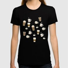Coffee Break MEDIUM Womens Fitted Tee Black