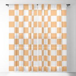 Checkered Pattern White and Light Orange Sheer Curtain