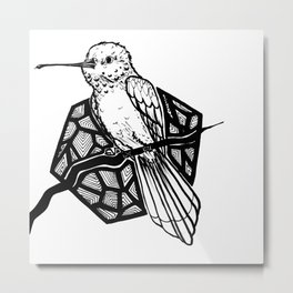 Inktober Day 2: Hummingbird Metal Print