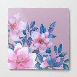 Magnolia flower tropical bouquet in pink Metal Print