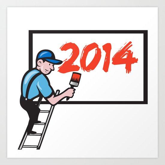 New Year 2014 Painter Painting Billboard Art Print