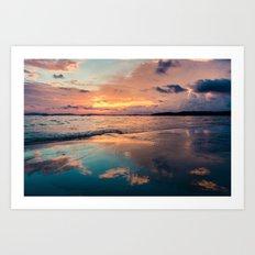 Beautiful Summer Beach Sunset Reflection Art Print
