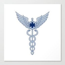 Caduceus With Pilot Wings EMT Star Icon Canvas Print