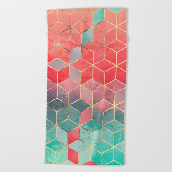 Rose And Turquoise Cubes Beach Towel