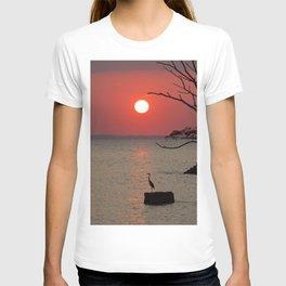 Sunset with Heron T-shirt