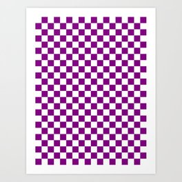Small Checkered - White and Purple Violet Art Print