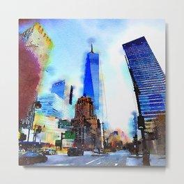 World Trade Watercolor Metal Print