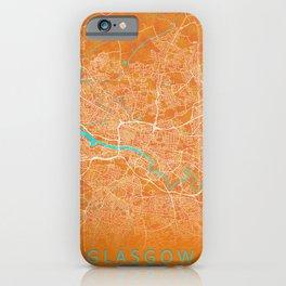 Glasgow, Scotland, Gold, Blue, City, Map iPhone Case