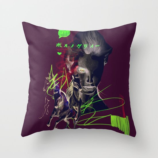 Running with horses Throw Pillow