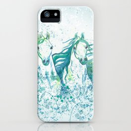 Two Arabian Horses in Watercolor iPhone Case