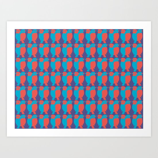 BLUE/RED BIRDS  Art Print