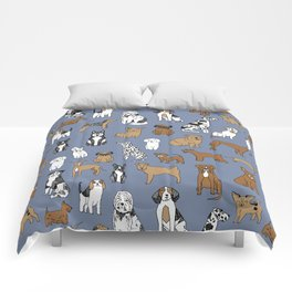 Dogs pattern minimal drawing dog breeds cute pattern gifts by andrea lauren Comforters