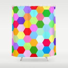 Multicoloured Hexagon Pattern Shower Curtain