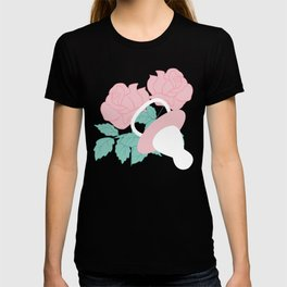 Baby girl elements and pink flowers in a seamless pattern design T-shirt