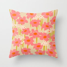 Relax in your summer meadow – floral shapes pattern Throw Pillow