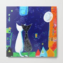 Midnight Cats Metal Print