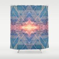 illuminati Shower Curtains featuring Shining like Illuminati by Katrina Berlin Design