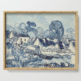 Vincent van gogh Landscape With Houses 1890 Serving Tray