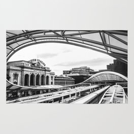 Union Station // Train Travel Downtown Denver Colorado Black and White City Photography Rug