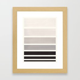 Grey Minimalist Mid Century Modern Color Fields Ombre Watercolor Staggered Squares Framed Art Print