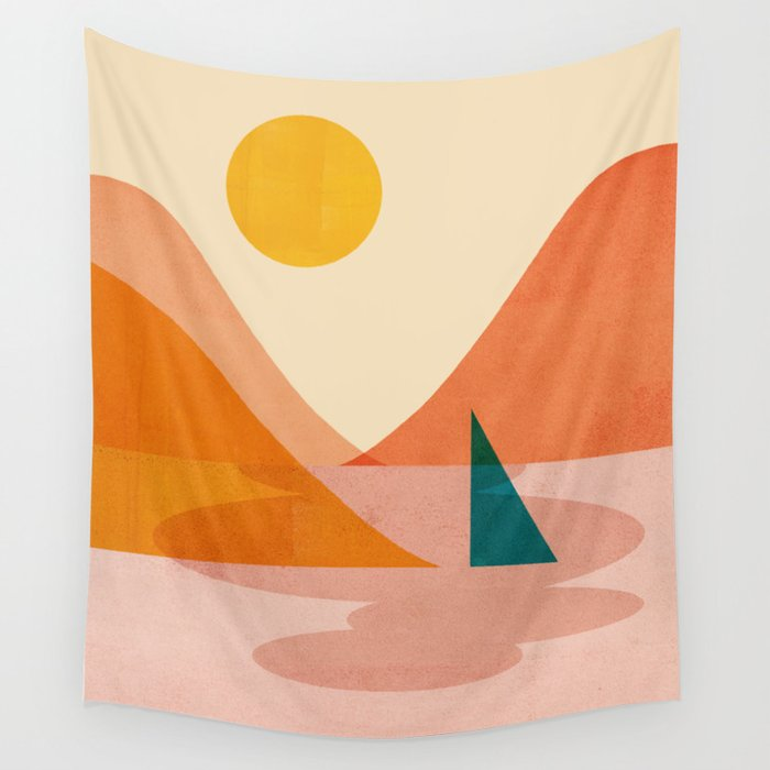 Abstraction_Lake_Sunset Wall Tapestry