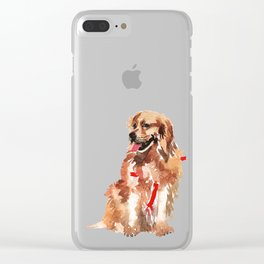 watercolor dog vol 17 golden retriever Clear iPhone Case