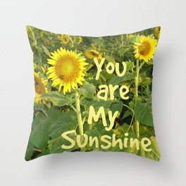 Sunflower Art // You are My Sunshine, Art with Bees Throw Pillow