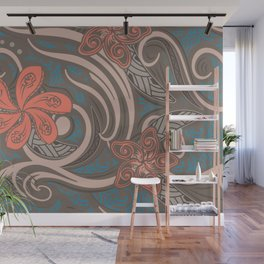Polynesian Coral Tribal Theads Wall Mural