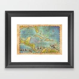 Caribbean Pirate + Treasure Map 1660 (Colored) Framed Art Print